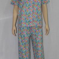 baju tidur/piyama wanita FL08 kerah sabrina/celana panjang biru