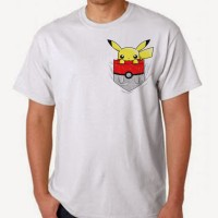 Kaos Pokemon Go Pikachu Inside Pocket Ball Nintendo Game Putih