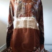 Gamis Batik Perempuan Motif Meander Cokelat Ukuran XL