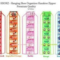 Hanging Shoes Organizer Karakter Zipper/Rak Sepatu Gantung