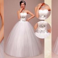 gaun pengantin putih wedding dress kemben kristal simple nikah pesta