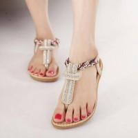 Jual Sandal Wanita Cream Kepang /BagnShoes Murah