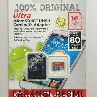 Jual SanDisk Ultra MicroSD / SDHC 16 GB Speed 80MB/s Class 10 With Adaptor Murah
