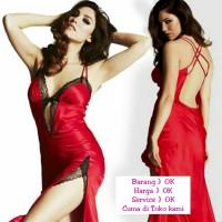Lingerie Panjang Merah Sexy Transparan G String Night Dress (AF LI 04)