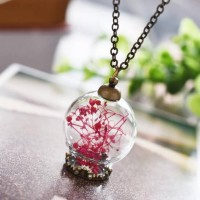 harga Wish Glass Bottle Pink Dried Flower Necklace Kalung Bunga Kering Tokopedia.com