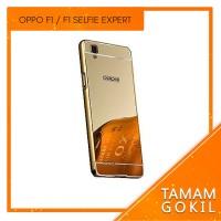 Casing Mirror Aluminium Bumper Oppo F1 Selfie Expert - Gold