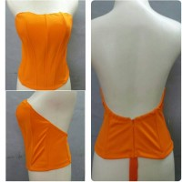 bustier lowback , bustier backless bahan polyester