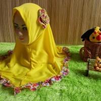 jilbab bayi syiria syari kaos kuning bunga renda