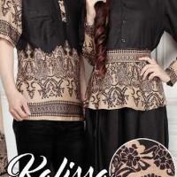 Jual Baju Couple Muslim / Gaun Batik Gamis CP kalissa hitam 10159 Murah