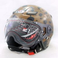 harga [JPN] Helm Retro KP08 Motif Dalmation Brown/Black Kaca Pilot Tokopedia.com