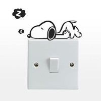 Jual Wallstiker Stiker Dekorasi Saklar Lampu Motif Anjing Snoopy Sleep Mini Murah