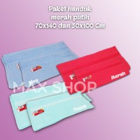 Paket Handuk Merah Putih 70x140 Dan 50x100 Cm / Handuk Dewasa Dan Anak