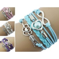 DIY Peach Heart Pearl Stone Mandrel Hand Kniting Bracelet - Blue