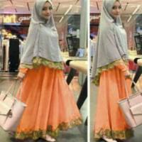 Raisha baju wanita, gamis wanita warna orange, baju muslim wanita