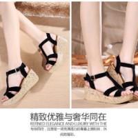 Sandal Tinggi Tali Hitam WEDGES FASHION SANDAL BLACK