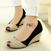 TERMURAH !!! Sepatu Wedges Pesta 2 Warna / Wedges Cewek Casual Murah