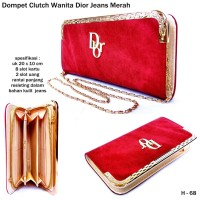 Dompet Clutch Wanita Dior Jeans-merah