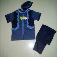 Setelan Baju Koko Anak Laki-laki Merk Little M Rompi Biru Dongker (XS)