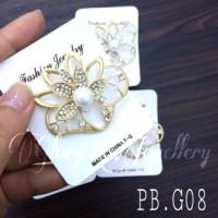 harga PB.G08 Pin Bros /Bross Permata Cantik Gold Bunga Hijab Jas Baju Tokopedia.com