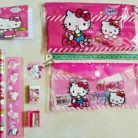 Jual Paket Alat Tulis Lengkap/Tas Hello Kitty/Kotak Pensil Murah