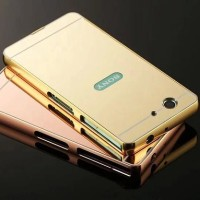 Metal Bumper Mirror Hard Back Cover Case Cermin Sony Xperia Z1 Compact