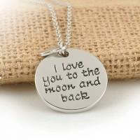 Silver I Love You U Text Necklace korea Import Kalung Teks Couple Gift