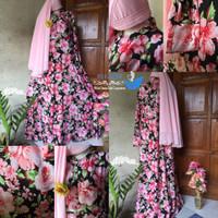Harga sale real pict gamis jersey pink flower rose bahan gamis | Pembandingharga.com