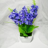 buket bunga plastik artificial lavender dan vas melamin shabby chic