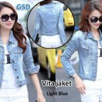 Jual jaket vita light blue/jaket wanita/baju perempuan/jaket jeans cewek Murah