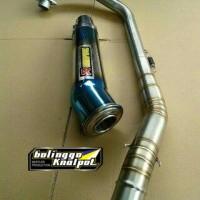 Knalpot Racing Akra Megapon Blue Fullset Cacing New Vixion, CBR150 DLL