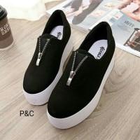 harga Sepatu Kets Slip on sneakers flat shoes sleting wanita / cewek 283 Tokopedia.com