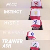 Jual Topi Trucker Pokemon Go. Valor, Instinct, Mystic,Pokeball, Trainer Ash Murah