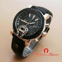 Jam tangan Aigner tali hitam Gold diamond