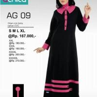 Gamis Alnita AG-09 Hitam Baju Muslim Bahan Kaos CVC