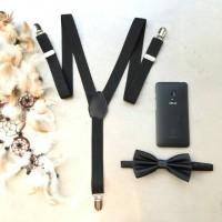 Jual paket hemat! suspender hitam dan dasi kupu hitam polos Murah