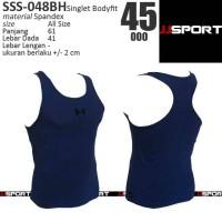 SSS-048BH Kaos Singlet Fitness Olahraga Bodyfit UA Biru Hitam