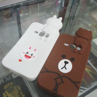 SILICONE CASE LINE BROWN AND CONY HIDING FOR SAMSUNG J5/ J7/ S7 EDGE