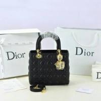 Tas Christian Dior Lady Medium Dove Hitam GHW SOL8618