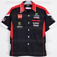 Kemeja Bordir Otomotif MotoGP Yamaha Movistar Hitam 2016 2017