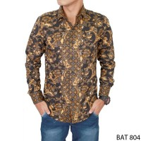 harga Batik Pria Lengan Panjang Katun Hitam  BAT 804 Tokopedia.com