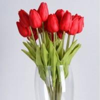 Tulip Flowers Red 10 tangkai Bunga Artificial vintage