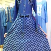 harga gamis jeans com kotak fit L.XL Tokopedia.com