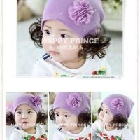 Topi Kupluk Bunga Ungu + Rambut Palsu / Purple Flower Beanie + Wig
