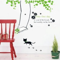harga Wall Sticker Stiker Tembok Hias Rumah 70x50 Ayunan Kucing AY 741 Tokopedia.com