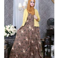 Setelan 2in1 Long Maxi Dress Batik Keris Cardigan Wedges Hana Gamis