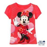 Baju Anak Kaos Atasan Tee Anak Perempuan Cewe Minnie Mouse