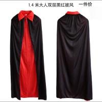 Jual Kostum Halloween Vampire JUBAH Hitam Merah 2 Sisi drakula 120 Cm Murah