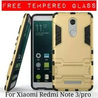 Jual Casing Xiaomi Redmi Note 3 / Pro Armor Ironman + Tempered Glass Murah