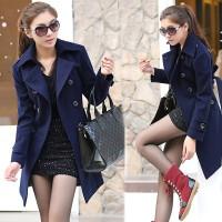 korea blazer coat wanita musim dingin biru - bahan fleece