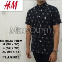 Jual Kemeja Flanel H&M Motif  Slim Fit Lengan Tangan Pendek Flannel Murah